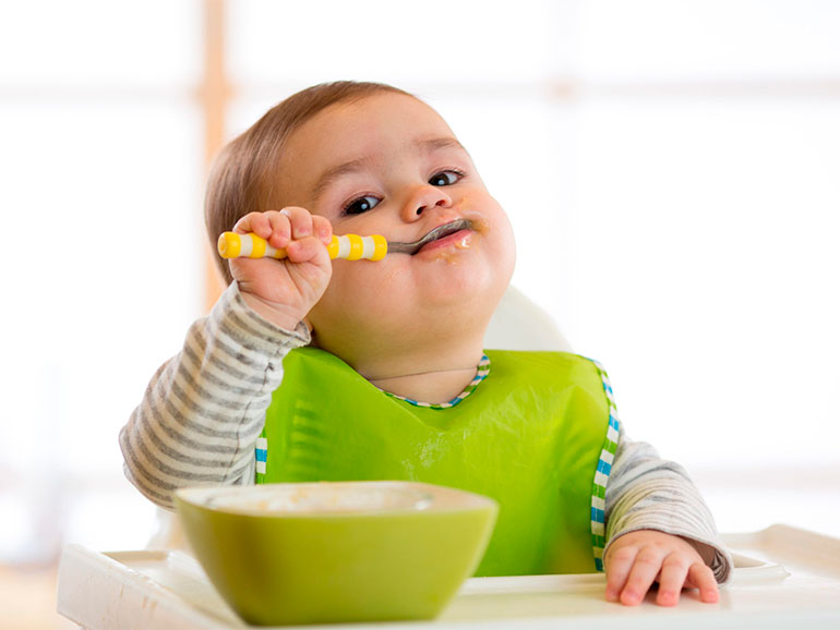 La alimentación sólida se inicia a los 6 meses